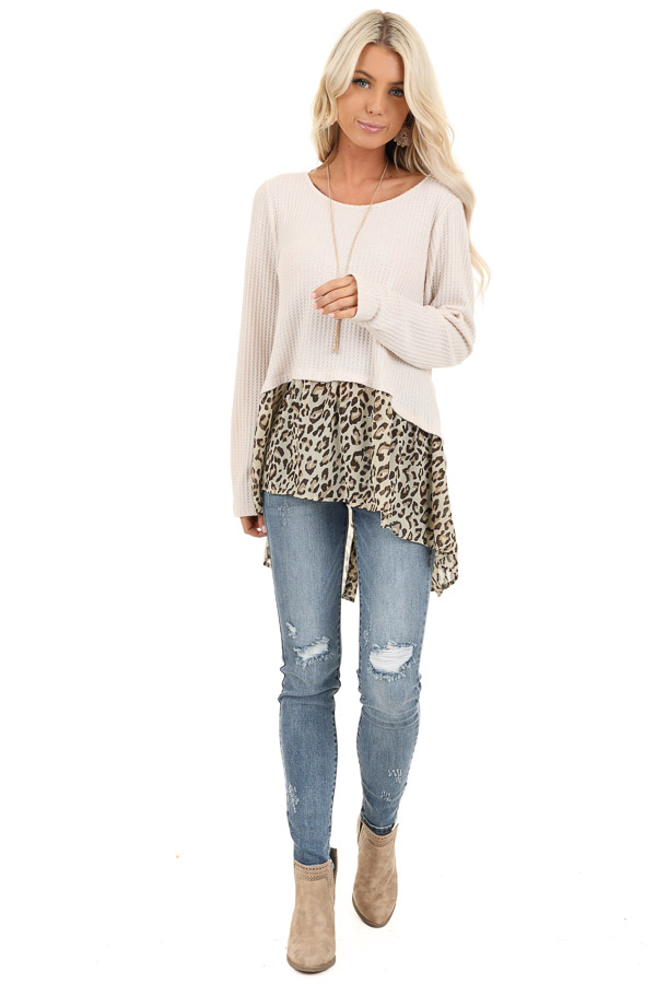 Oatmeal Waffle Knit Top with Sheer Leopard Print Contrast front full body