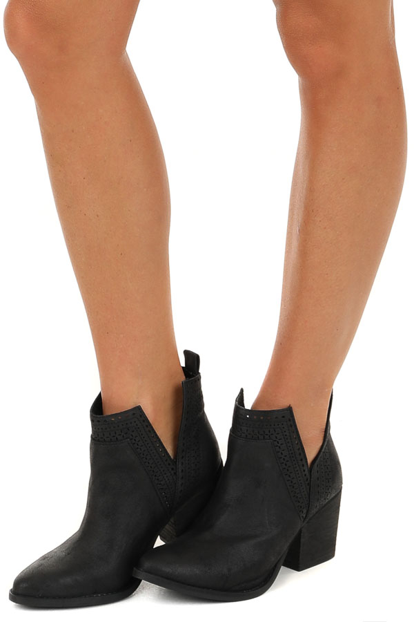 Black High Heel Bootie with Perforated Details side view