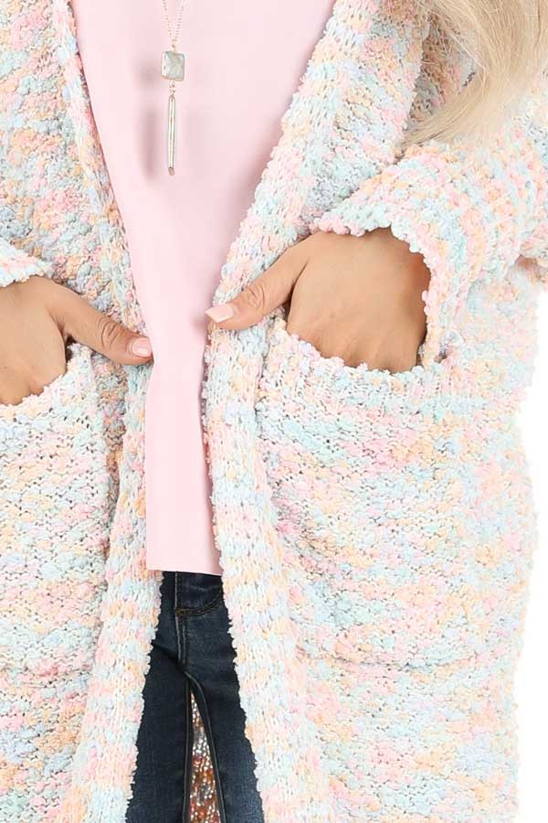 Cotton Candy Multicolor Knit Cardigan with Dolman Sleeves detail