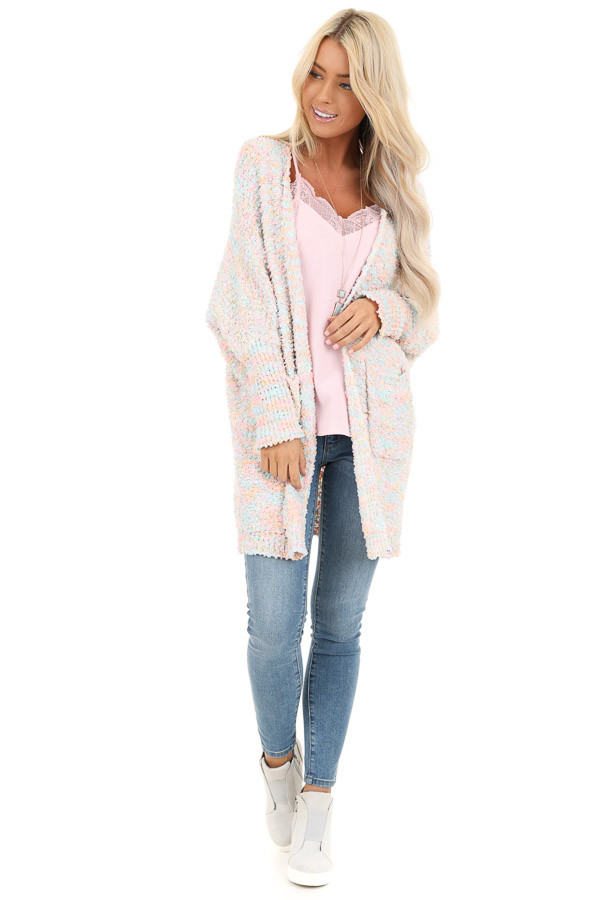 Cotton Candy Multicolor Knit Cardigan with Dolman Sleeves front full body