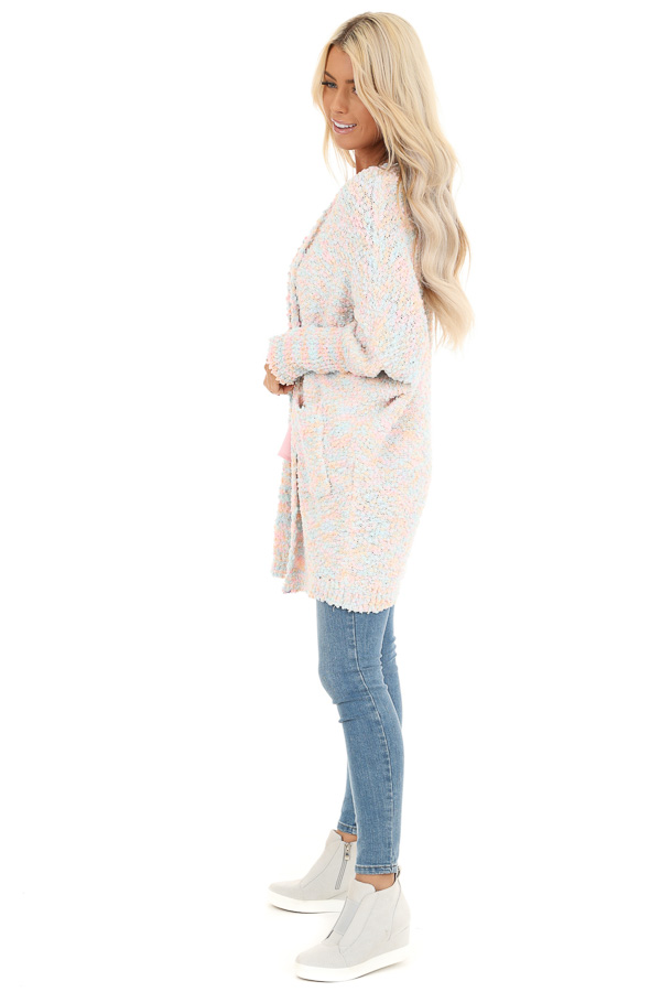 Cotton Candy Multicolor Knit Cardigan with Dolman Sleeves side full body