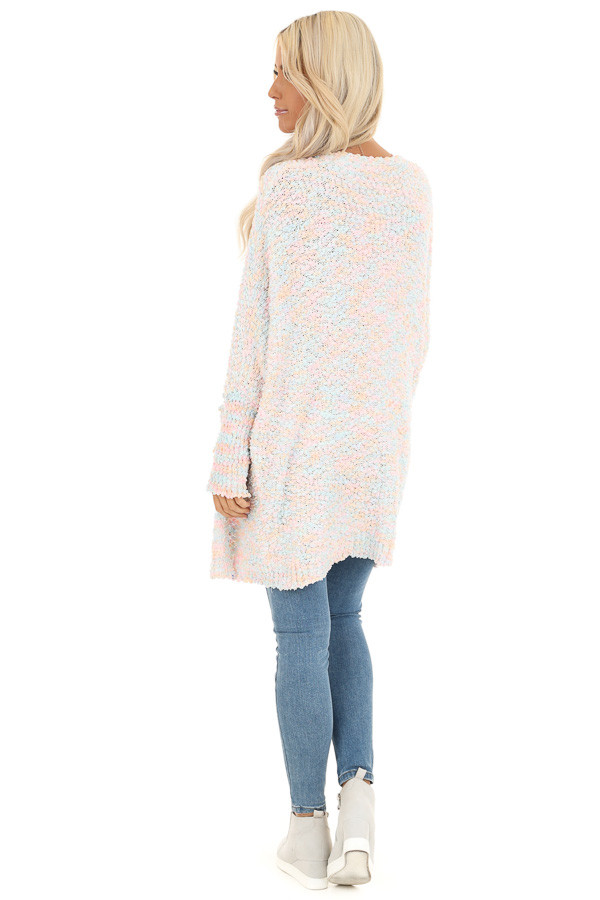 Cotton Candy Multicolor Knit Cardigan with Dolman Sleeves back full body