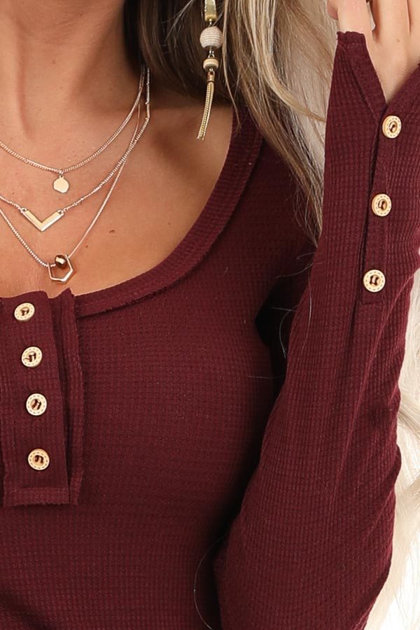 Burgundy Textured Long Sleeve Henley Top with Button Details detail