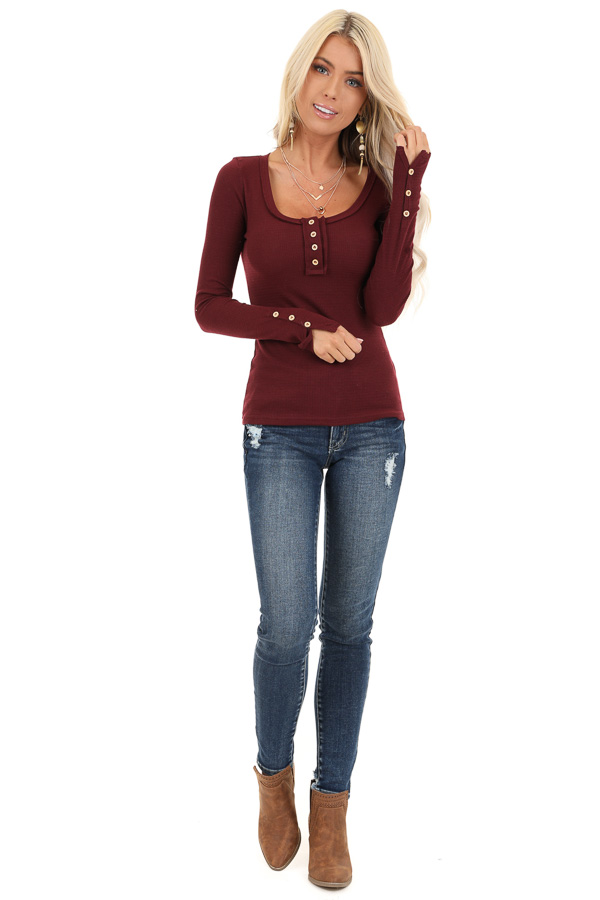 Burgundy Textured Long Sleeve Henley Top with Button Details front full body