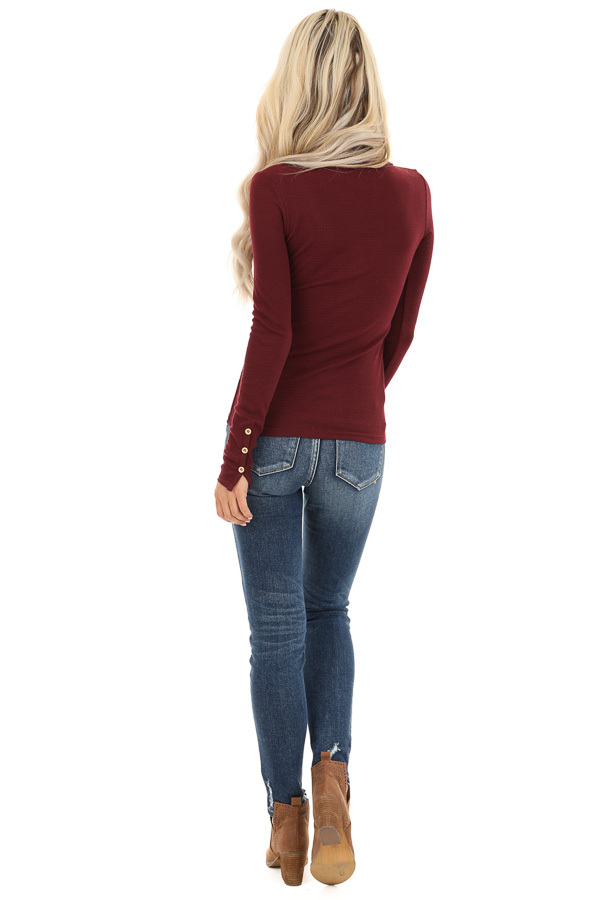 Burgundy Textured Long Sleeve Henley Top with Button Details back full body