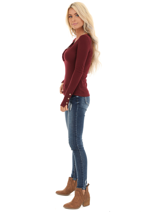 Burgundy Textured Long Sleeve Henley Top with Button Details side full body