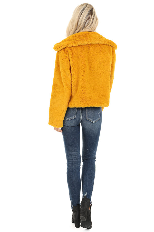 Mustard Faux Fur Cropped Jacket with Pockets back full body