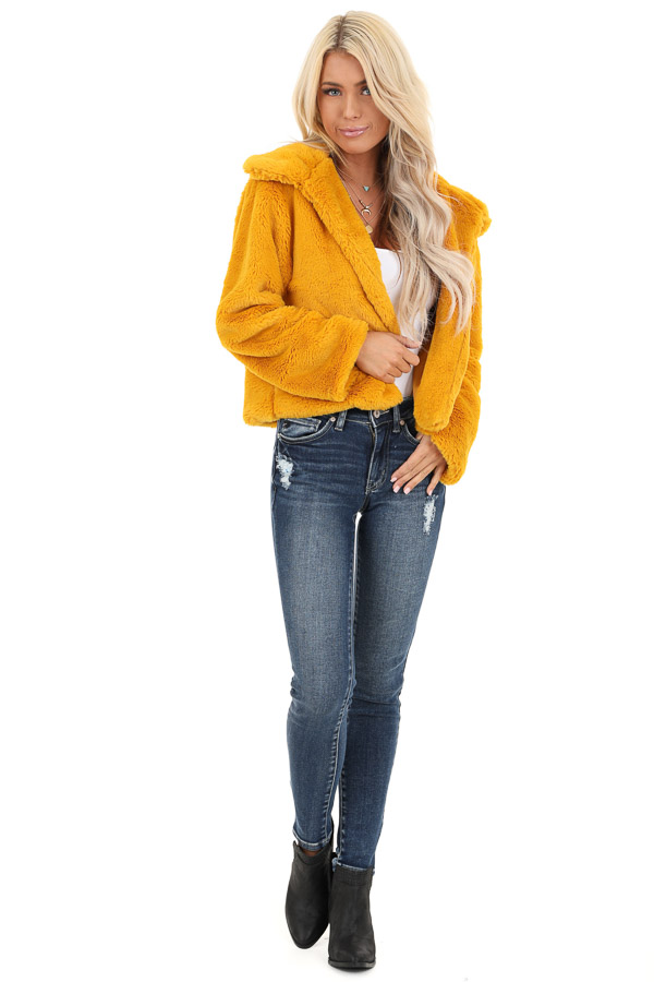 Mustard Faux Fur Cropped Jacket with Pockets front full body