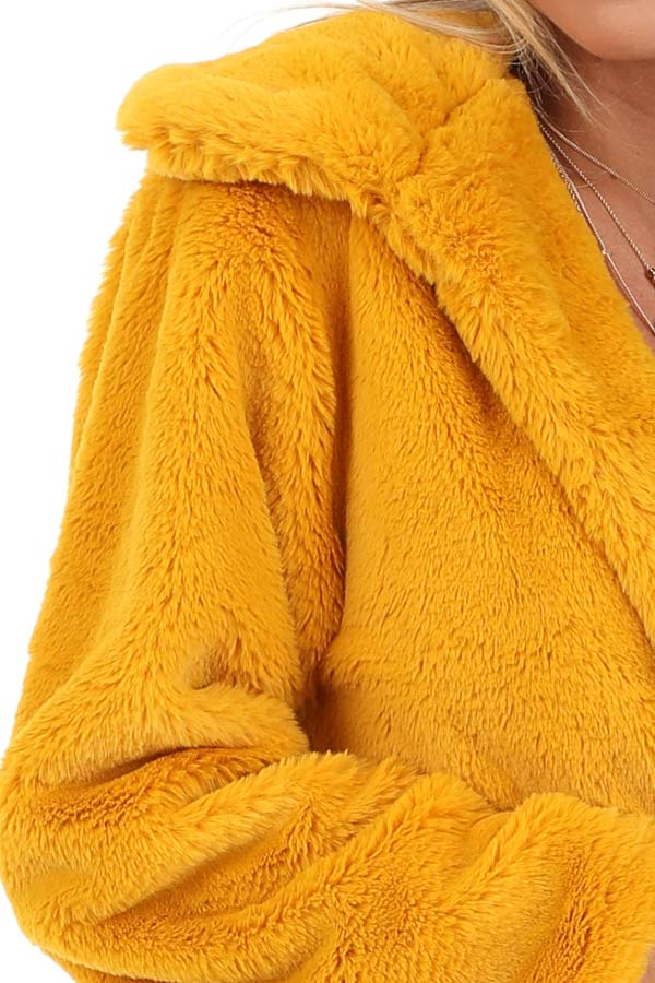 Mustard Faux Fur Cropped Jacket with Pockets detail