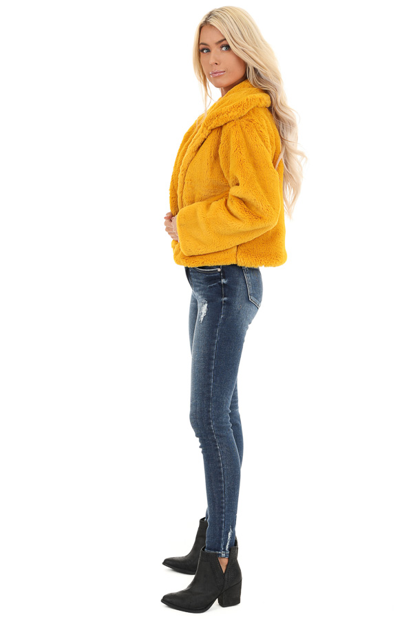 Mustard Faux Fur Cropped Jacket with Pockets side full body