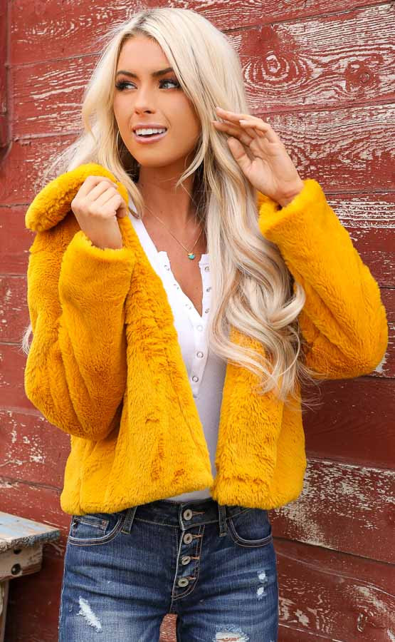 Mustard Faux Fur Cropped Jacket with Pockets
