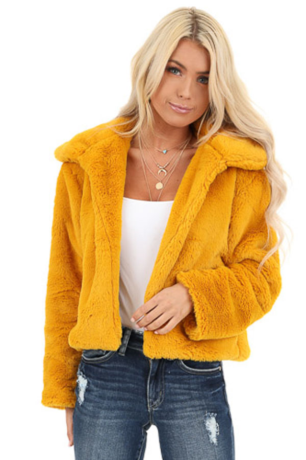 Mustard Faux Fur Cropped Jacket with Pockets front close up