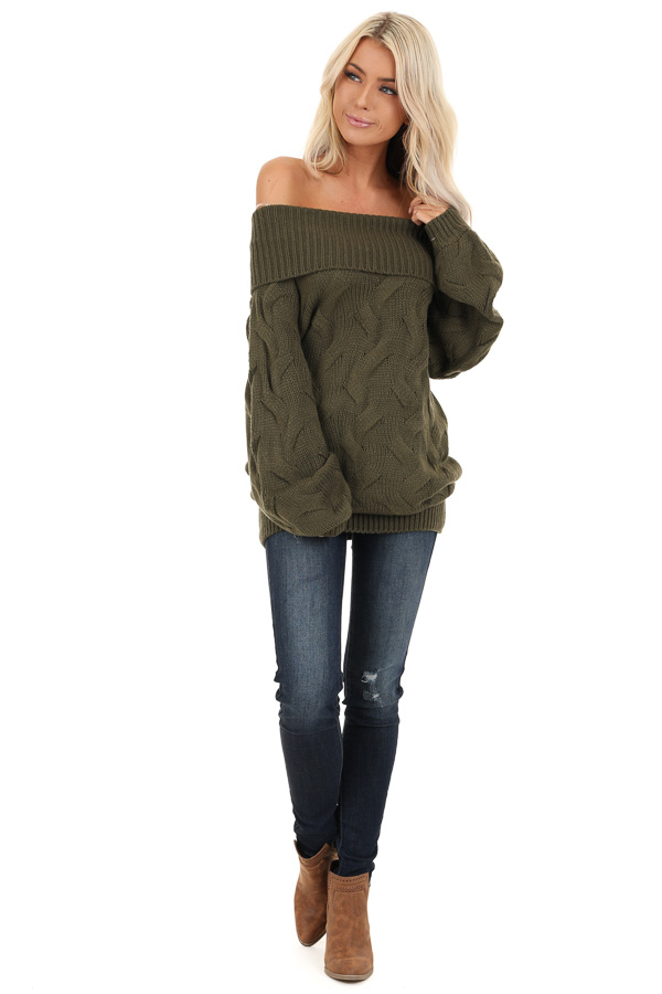 Olive Off Shoulder Cable Knit Sweater with Balloon Sleeves front full body