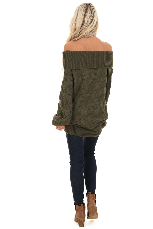 Olive Off Shoulder Cable Knit Sweater with Balloon Sleeves back full body