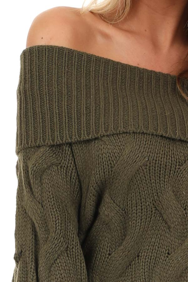 Olive Off Shoulder Cable Knit Sweater with Balloon Sleeves detail