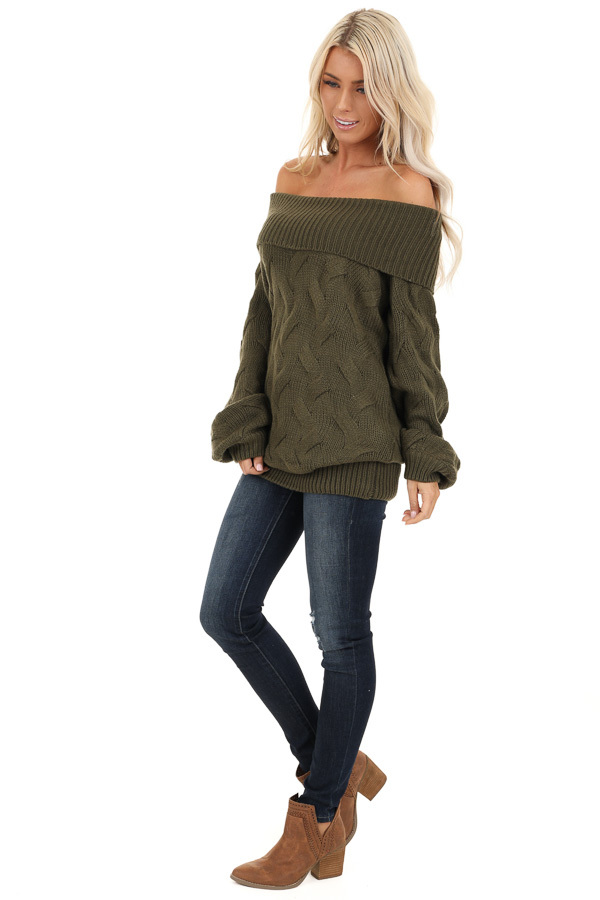 Olive Off Shoulder Cable Knit Sweater with Balloon Sleeves side full body
