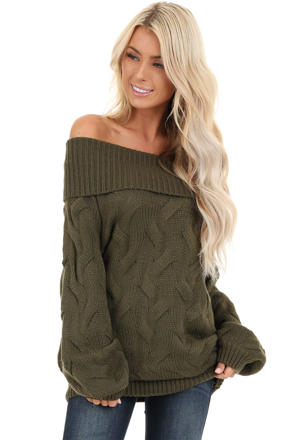 Olive Off Shoulder Cable Knit Sweater with Balloon Sleeves front close up