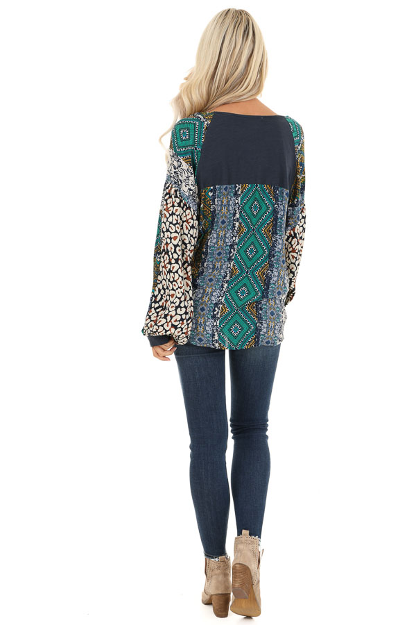 Navy Blue Long Sleeve Top with Multi Color Print Contrast back full body