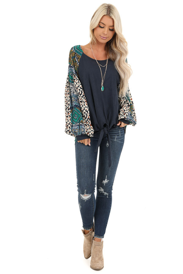 Navy Blue Long Sleeve Top with Multi Color Print Contrast front full body