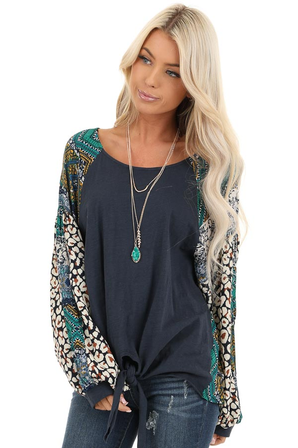 Navy Blue Long Sleeve Top with Multi Color Print Contrast front close up