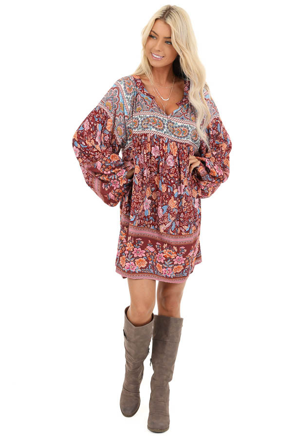 Sangria Short Multi Print Dress with Long Balloon Sleeves front full body