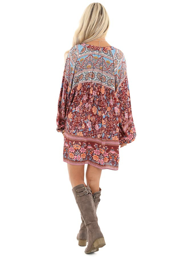 Sangria Short Multi Print Dress with Long Balloon Sleeves back full body