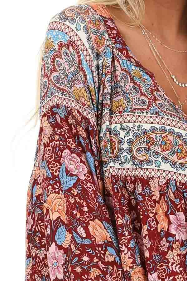 Sangria Short Multi Print Dress with Long Balloon Sleeves detail