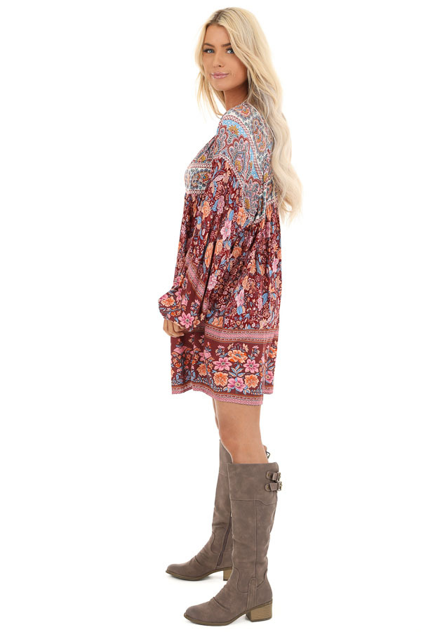 Sangria Short Multi Print Dress with Long Balloon Sleeves side full body