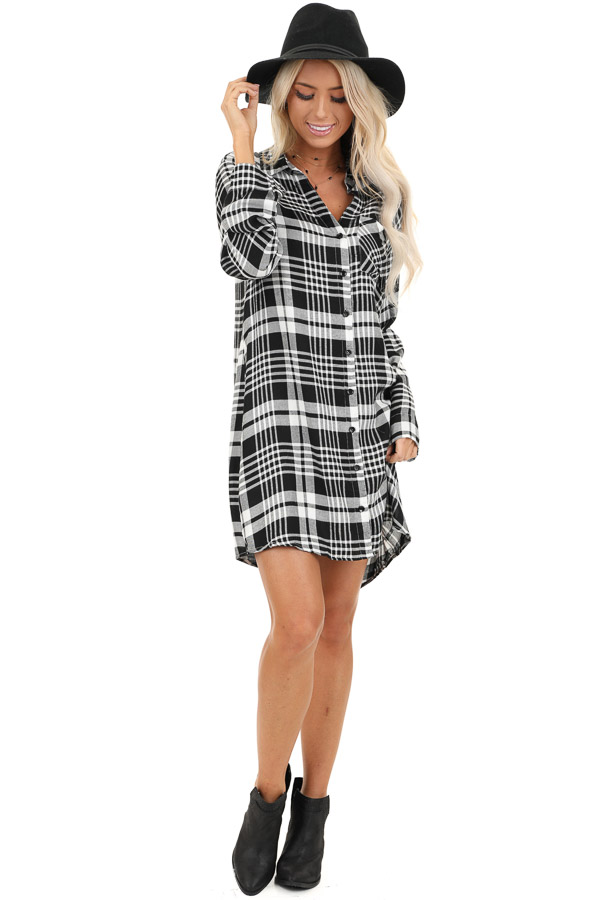 Black and White Plaid Button Up Mini Dress with Chest Pocket front full body