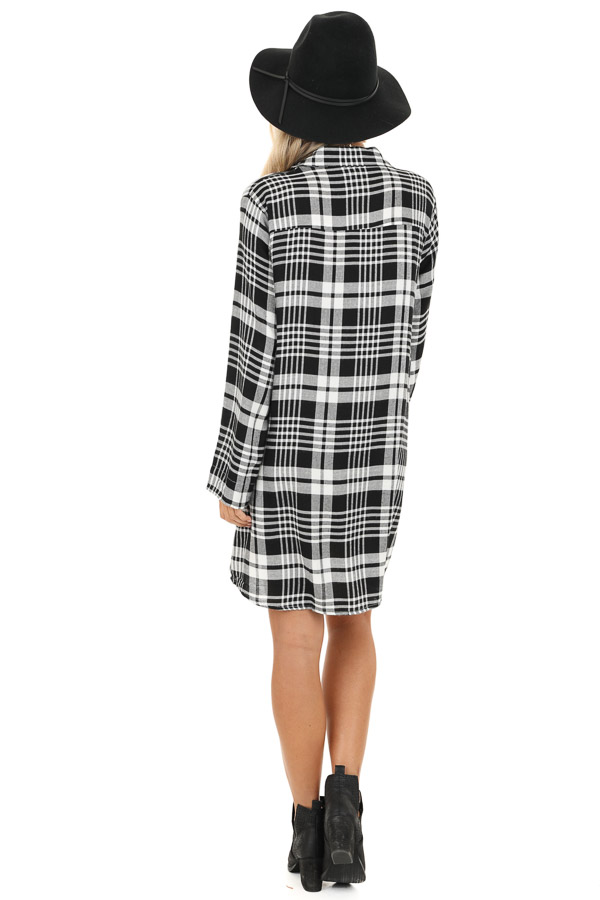 Black and White Plaid Button Up Mini Dress with Chest Pocket back full body