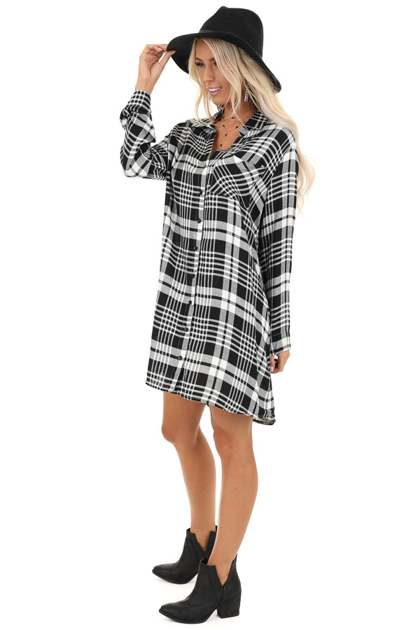 Black and White Plaid Button Up Mini Dress with Chest Pocket side full body