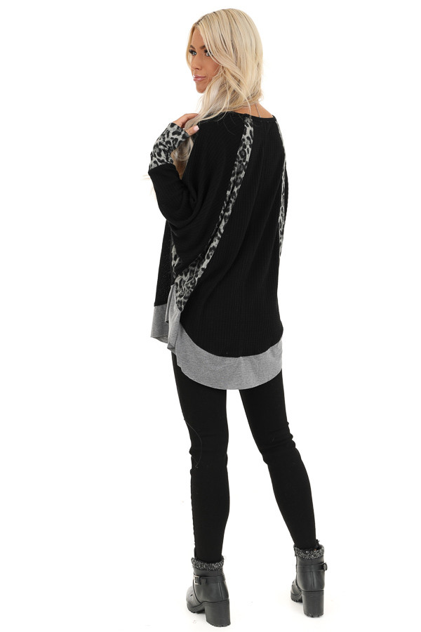 Black Waffle Knit Top with Leopard Contrast Detail back full body