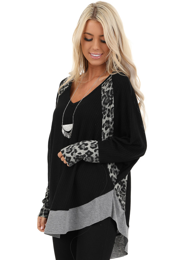 Black Waffle Knit Top with Leopard Contrast Detail front close up