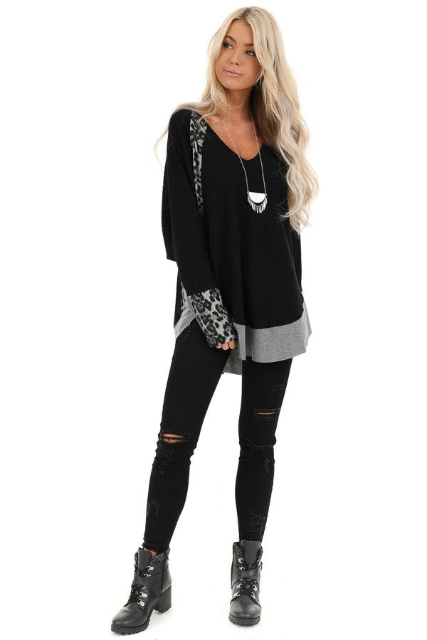 Black Waffle Knit Top with Leopard Contrast Detail front full body