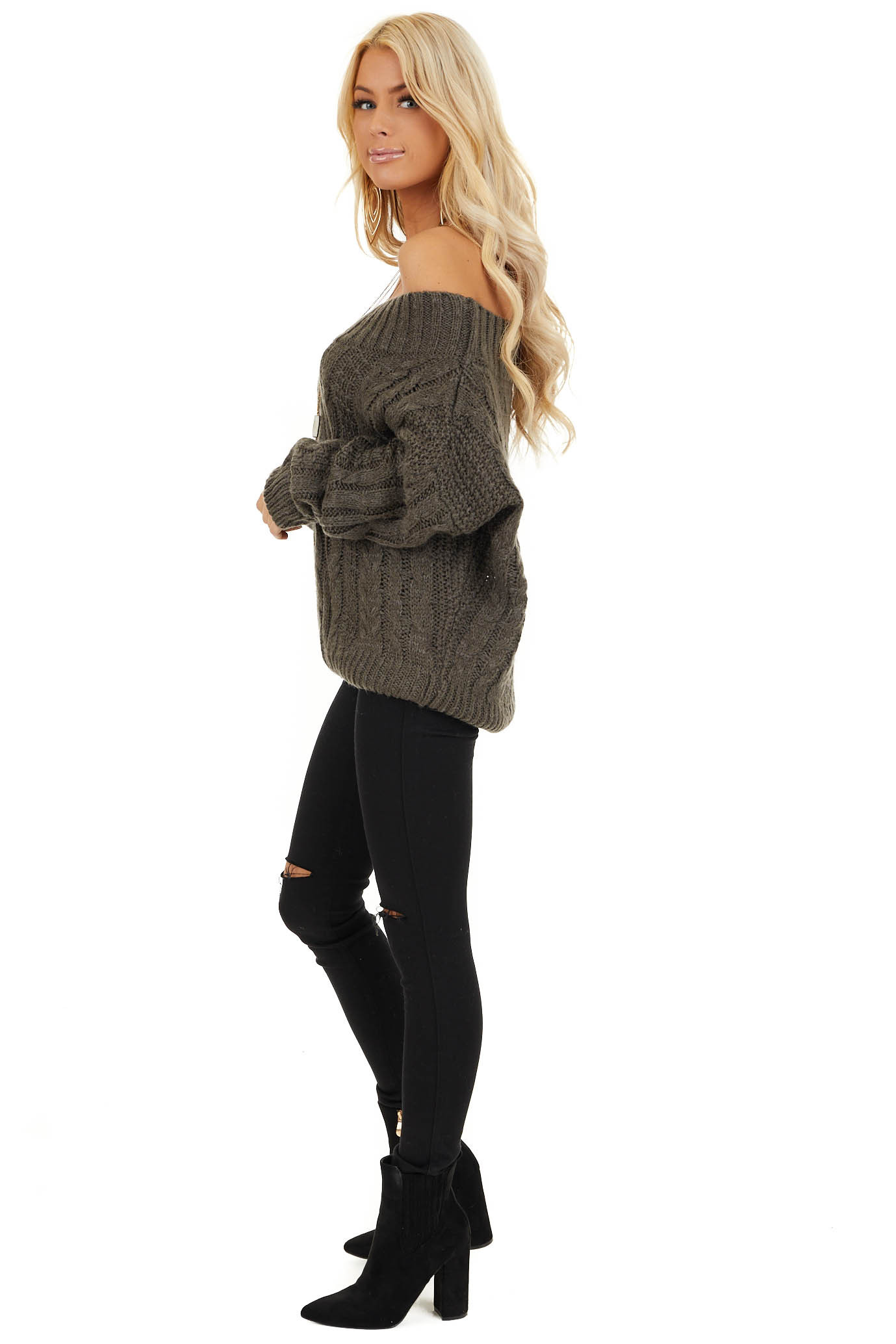 Charcoal Long Sleeve Off Shoulder Cable Knit Sweater side full body