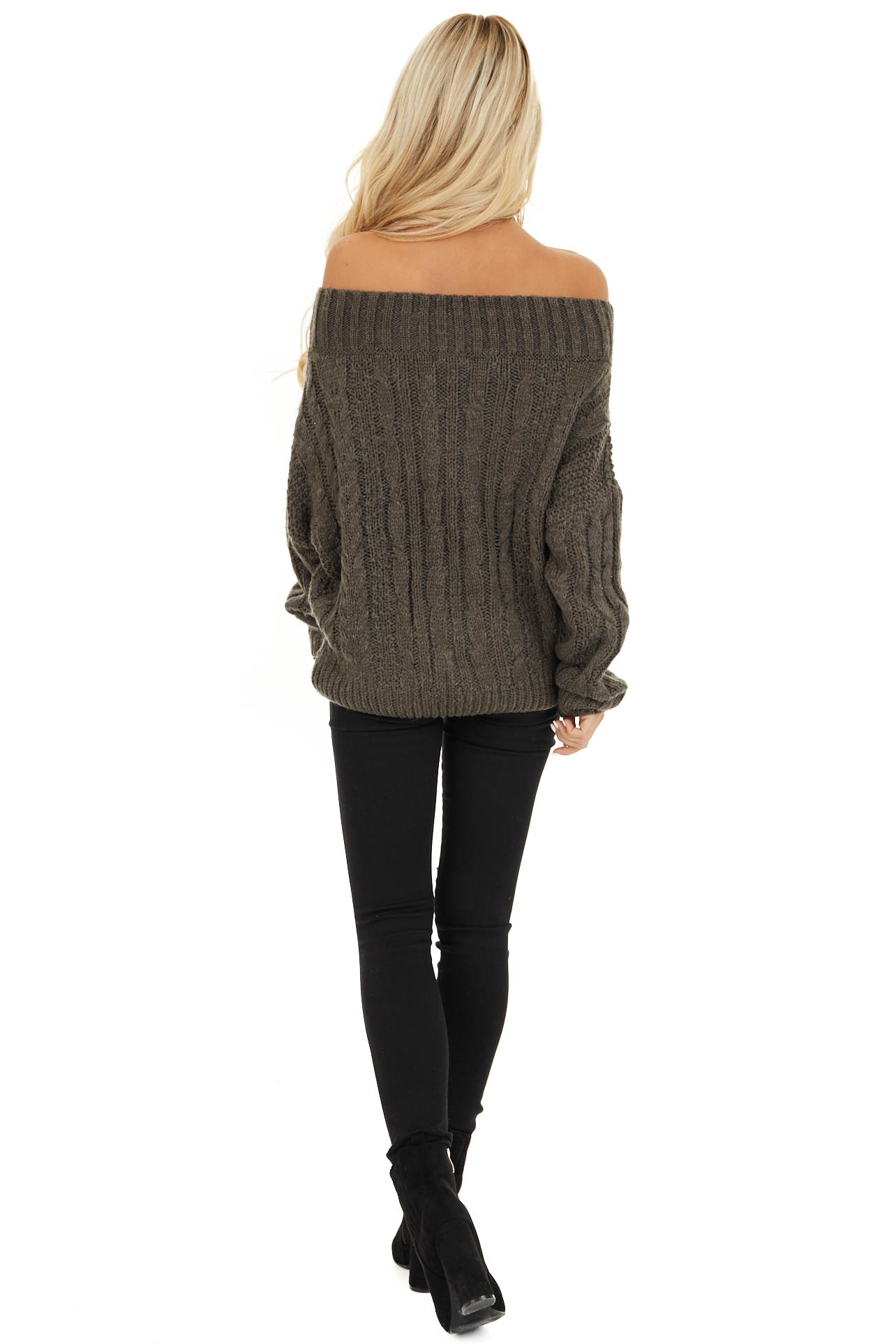 Charcoal Long Sleeve Off Shoulder Cable Knit Sweater back full body