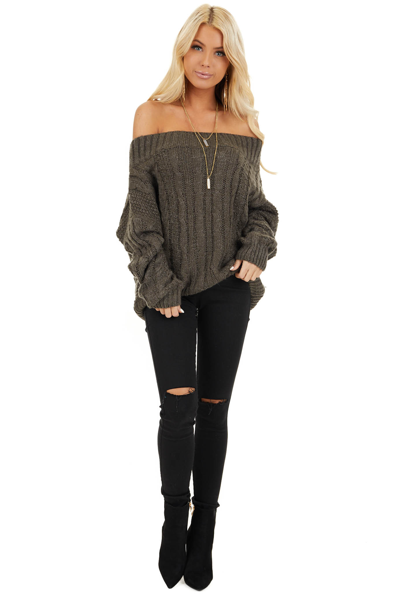 Charcoal Long Sleeve Off Shoulder Cable Knit Sweater front full body
