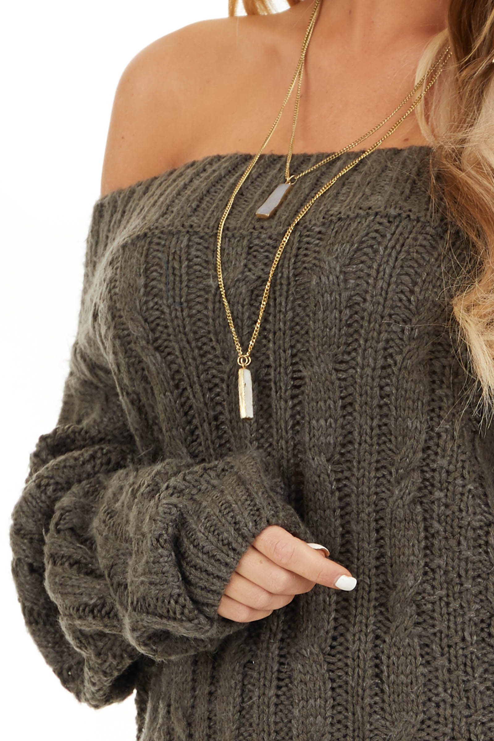 Charcoal Long Sleeve Off Shoulder Cable Knit Sweater detail
