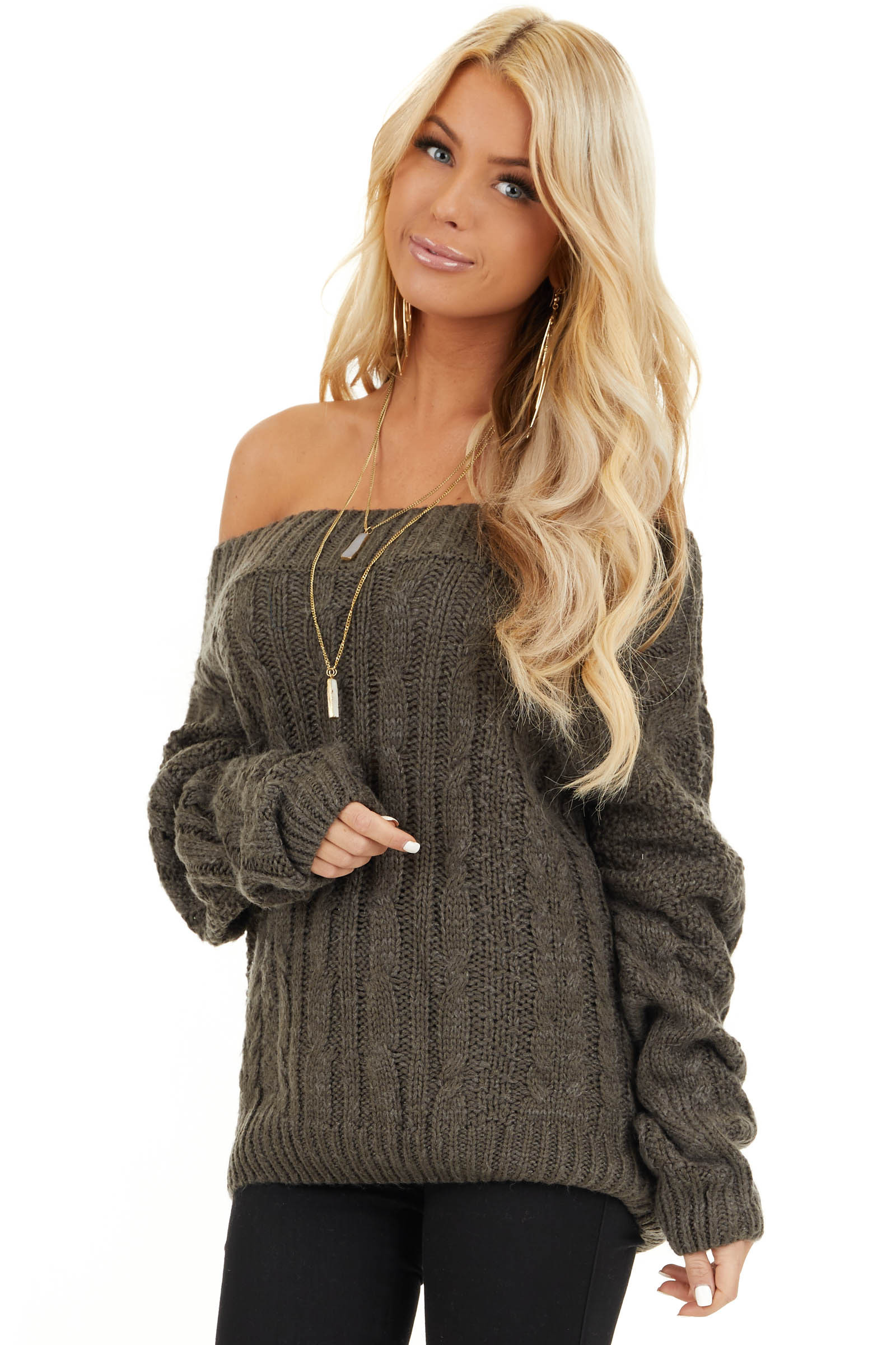 Charcoal Long Sleeve Off Shoulder Cable Knit Sweater front close up