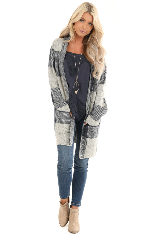 Denim Blue and Soft Grey Buffalo Plaid Cardigan with Pockets front full body