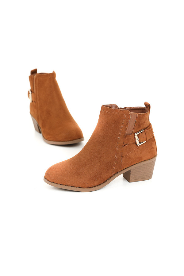 Cognac High Heel Bootie with Strap and Buckle Details