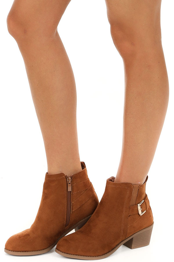 Cognac High Heel Bootie with Strap and Buckle Details side view