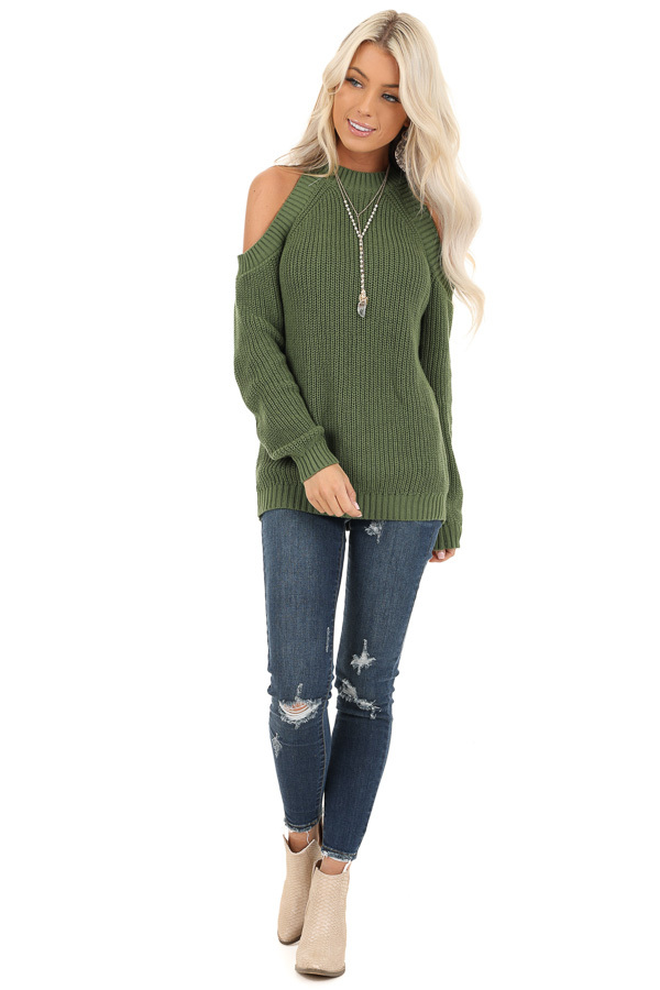 Olive Cable Knit Long Sleeve Sweater with Cold Shoulders front full body