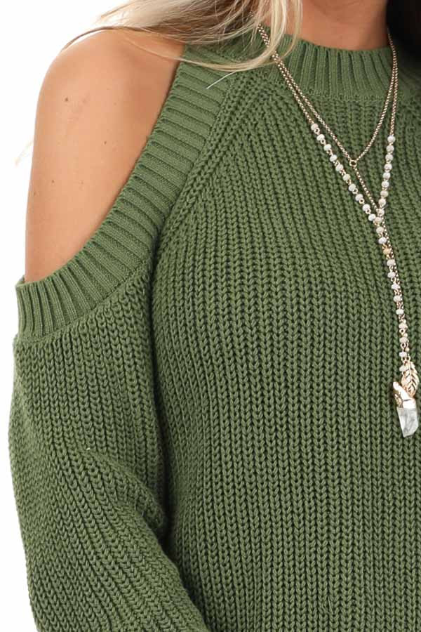 Olive Cable Knit Long Sleeve Sweater with Cold Shoulders detail