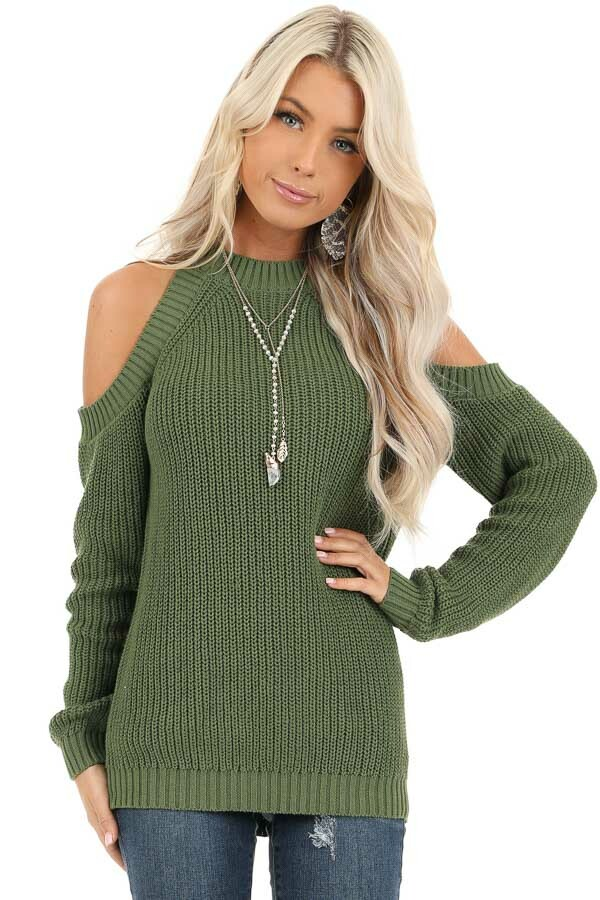 Olive Cable Knit Long Sleeve Sweater with Cold Shoulders front close up