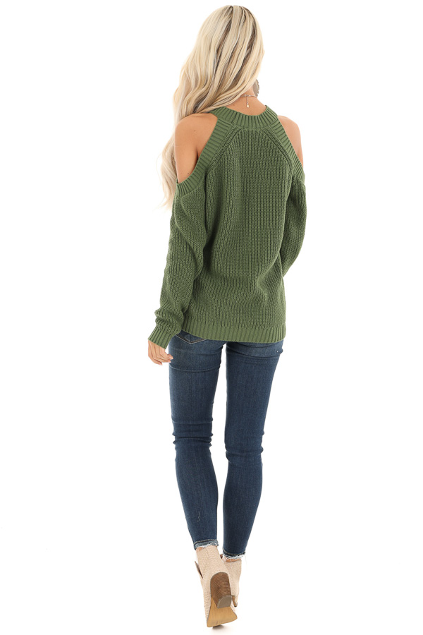 Olive Cable Knit Long Sleeve Sweater with Cold Shoulders back full body