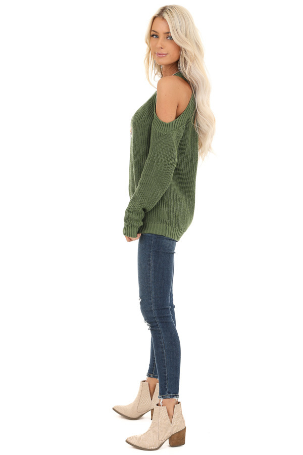 Olive Cable Knit Long Sleeve Sweater with Cold Shoulders side full body