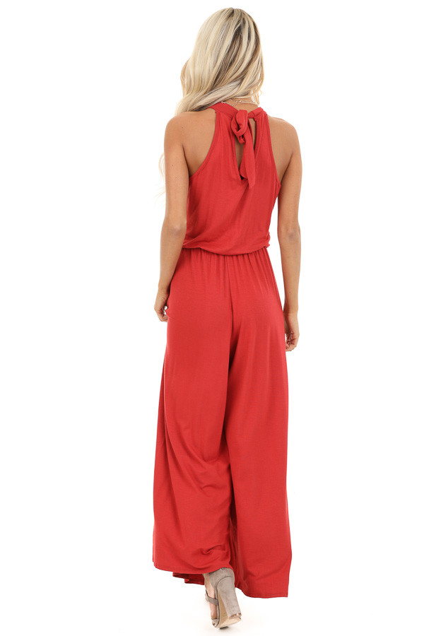 Tomato Red Halter Neck Sleeveless Jumpsuit with Pockets back full body