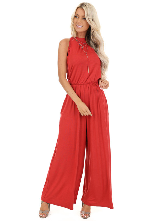 Tomato Red Halter Neck Sleeveless Jumpsuit with Pockets front full body