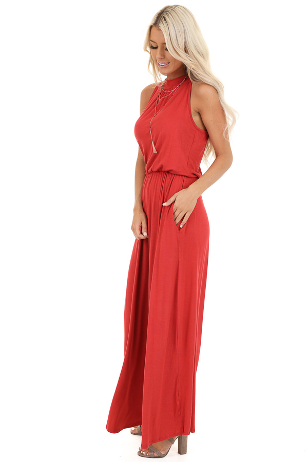 Tomato Red Halter Neck Sleeveless Jumpsuit with Pockets side full body